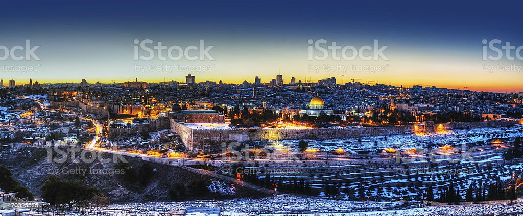 Old City in Jerusalem, Israel panorama stock photo