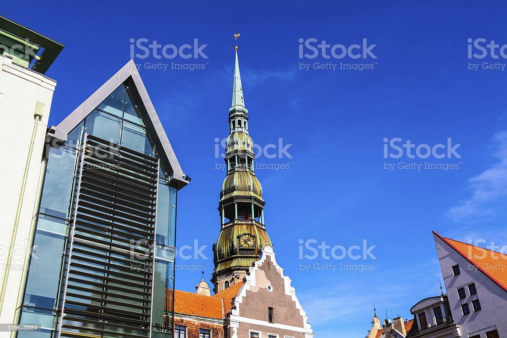 Old city in Riga with Saint Peter's church stock photo