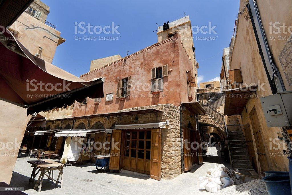 Old city in Saida, Lebanon stock photo