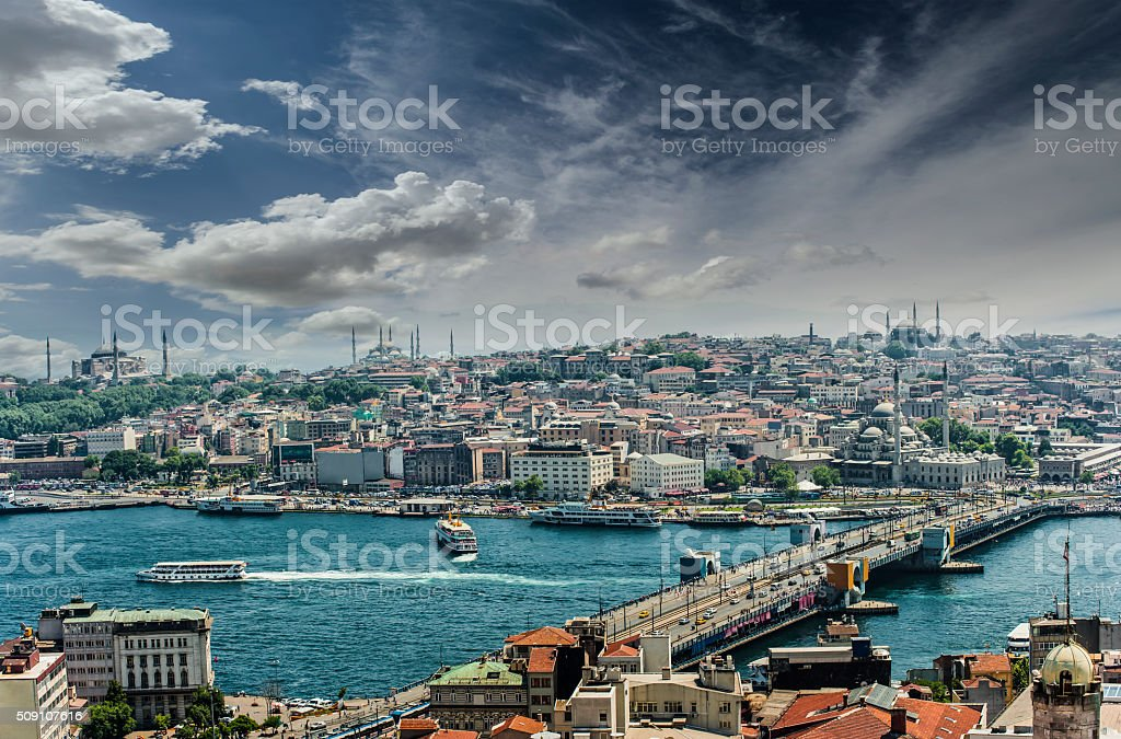 Old City Istanbul with Golden Horn stock photo