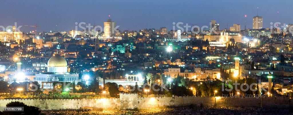 Old City Jerusalem at Night royalty-free stock photo