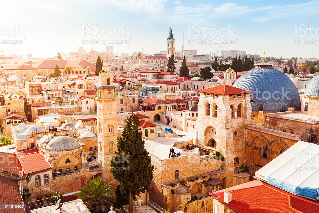 Old City Jerusalem from above. Church of the Holy Sepulchre. stock photo