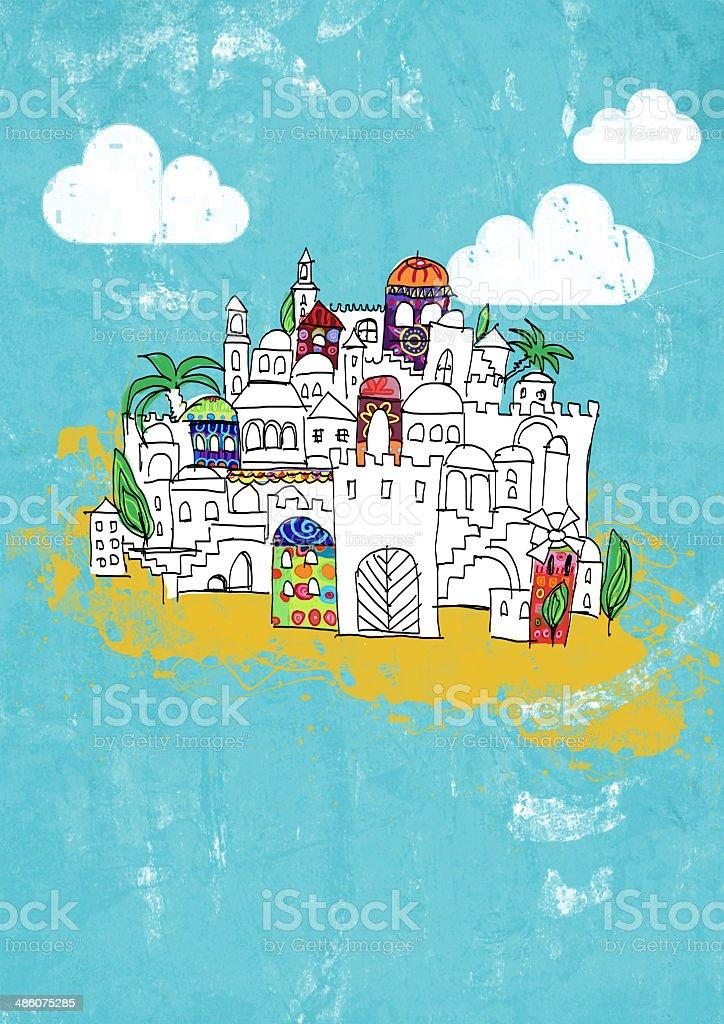 old city Jerusalem - illustration royalty-free stock photo