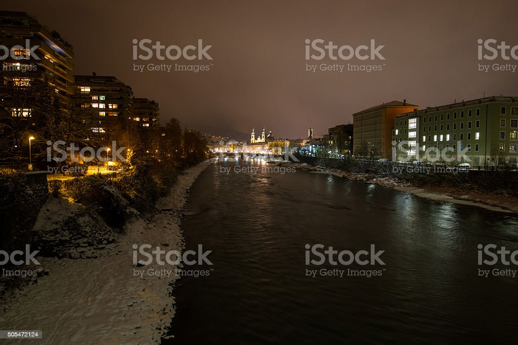 Old city of Innsbruck, night shot stock photo