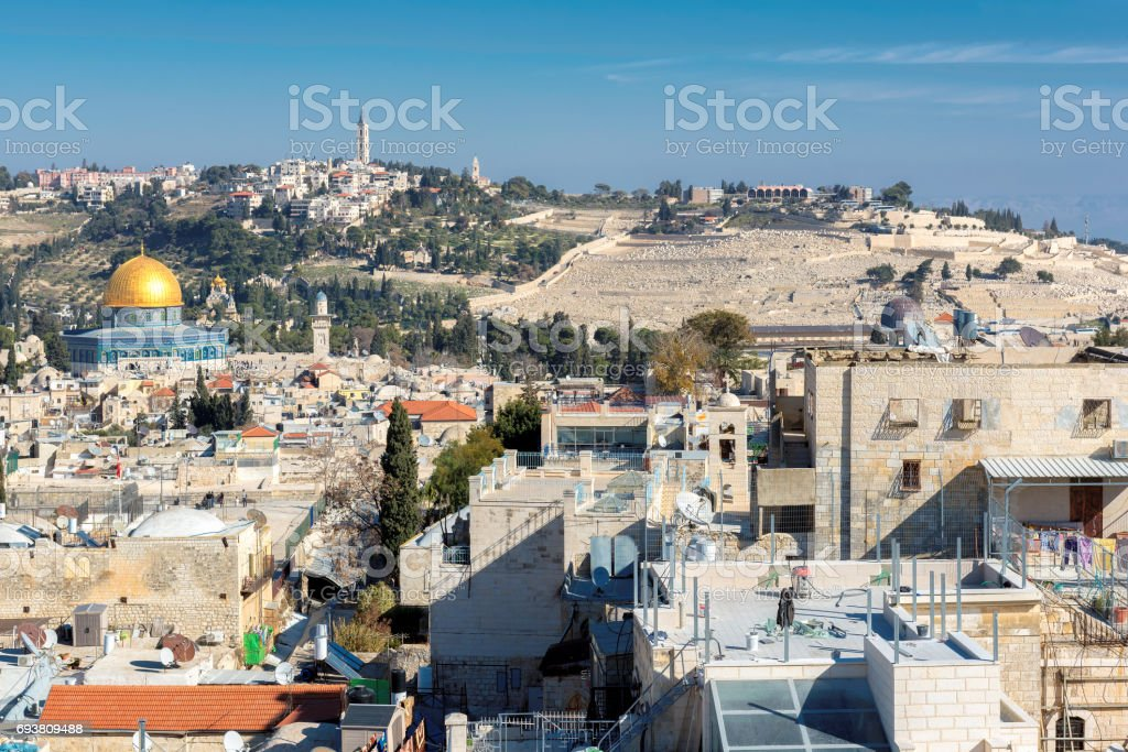 Old City of Jerusalem at sunset, Israel stock photo