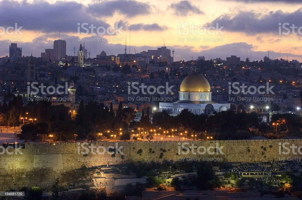 Old City of Jerusalem at sunset royalty-free stock photo