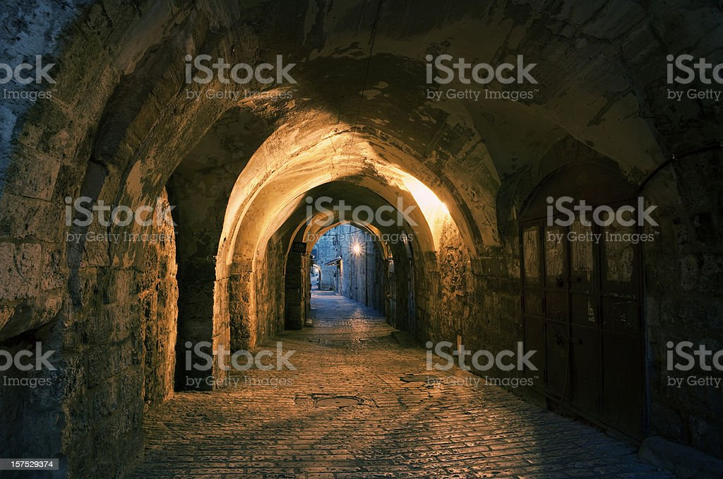 Old city of Jerusalem in twilight stock photo