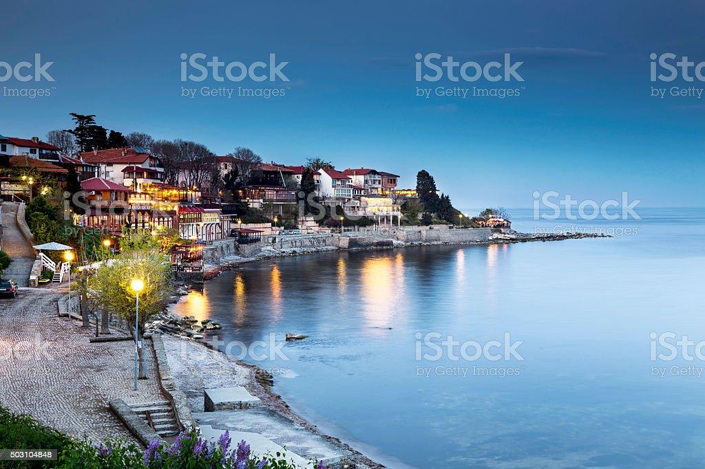 Old city of Nessebar night view stock photo