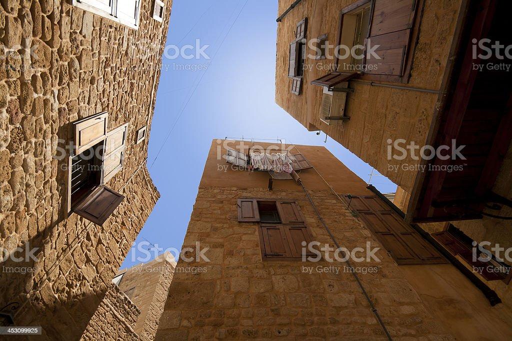 Old city perspective in Saida, Lebanon stock photo