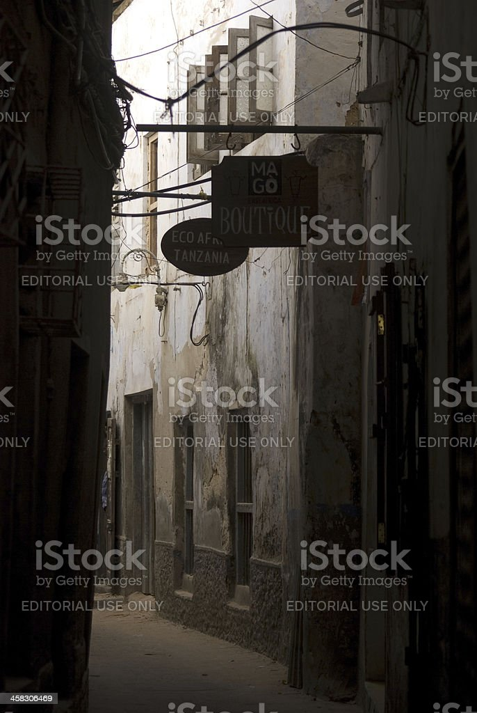 Old city scene, Stone Town, Zanzibar, Tanzania royalty-free stock photo