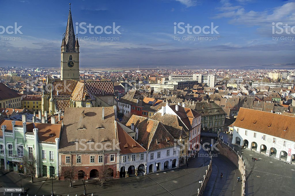Old city skyline with blue sky stock photo