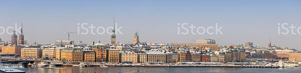 Old city, Stockholm Sweden. Panorama a sunny winter day. royalty-free stock photo