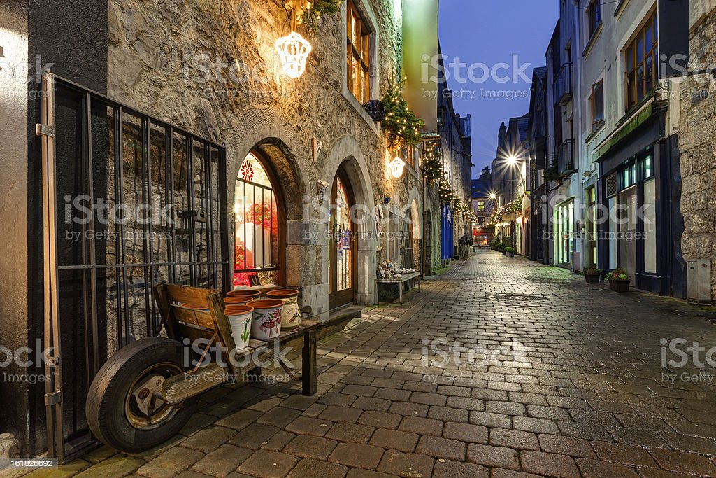 Old city street at night stock photo
