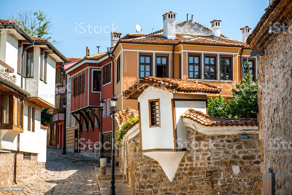 Old city street view in Plovdiv stock photo