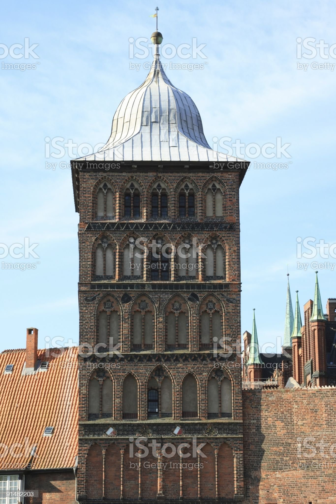Old City Tower of Luebeck royalty-free stock photo