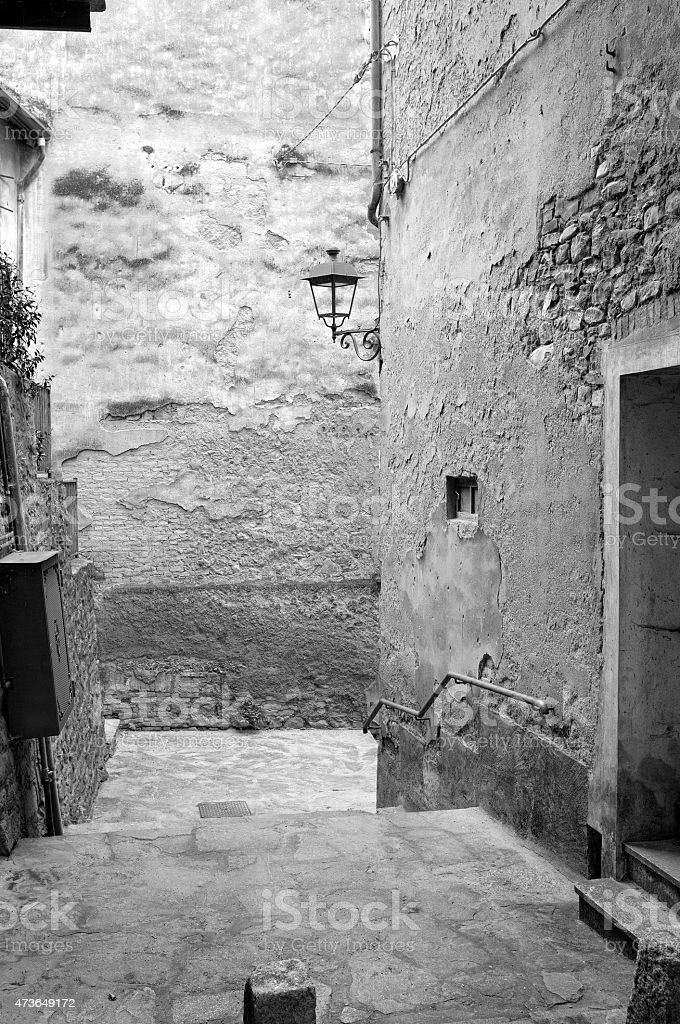Old city view. Black and white photo stock photo