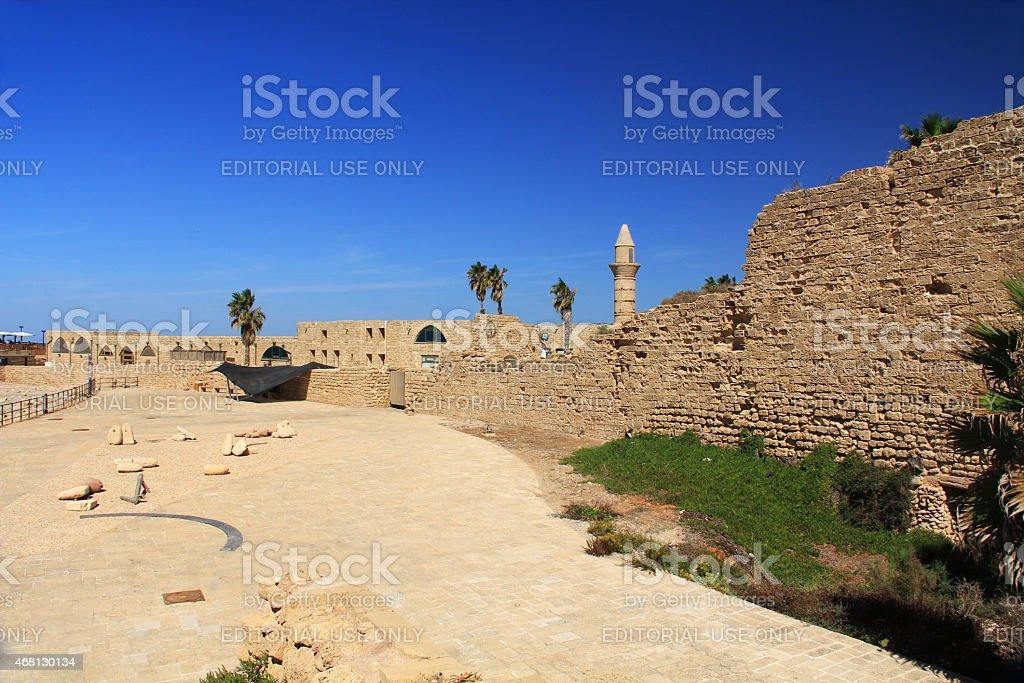 Old city wall in Caesarea Maritima National Park stock photo