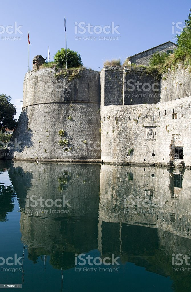 old city wall in Kotor stock photo