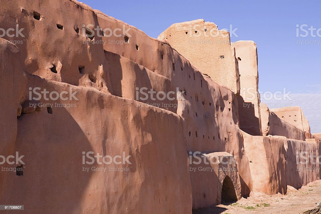 Old city wall in Marrakech, Morocco. royalty-free stock photo