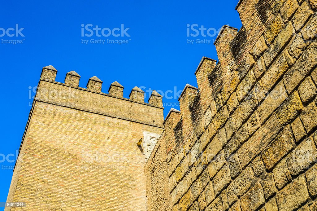 Old city walls in Seville, Spain stock photo