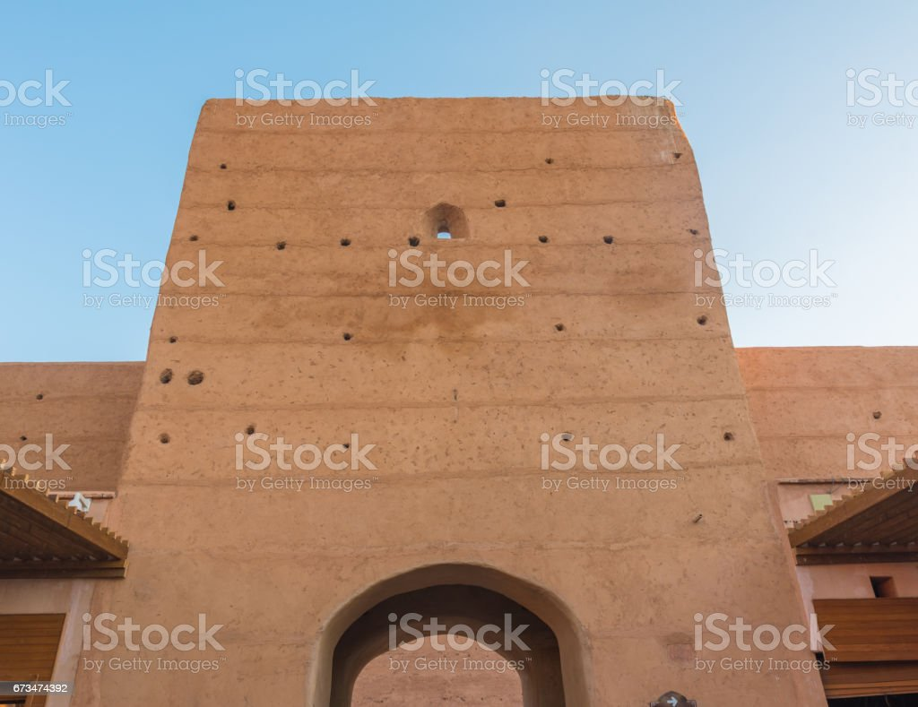 Old city walls of the medna of Marrakech, Morocco stock photo