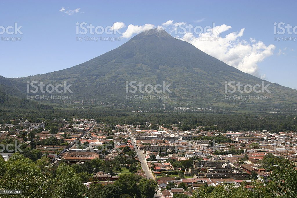 Old city with volcano royalty-free stock photo