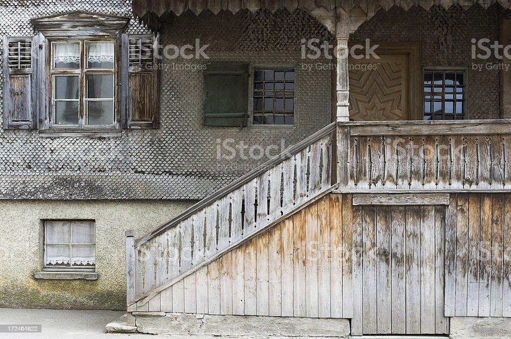 Old clapboard house facade stock photo