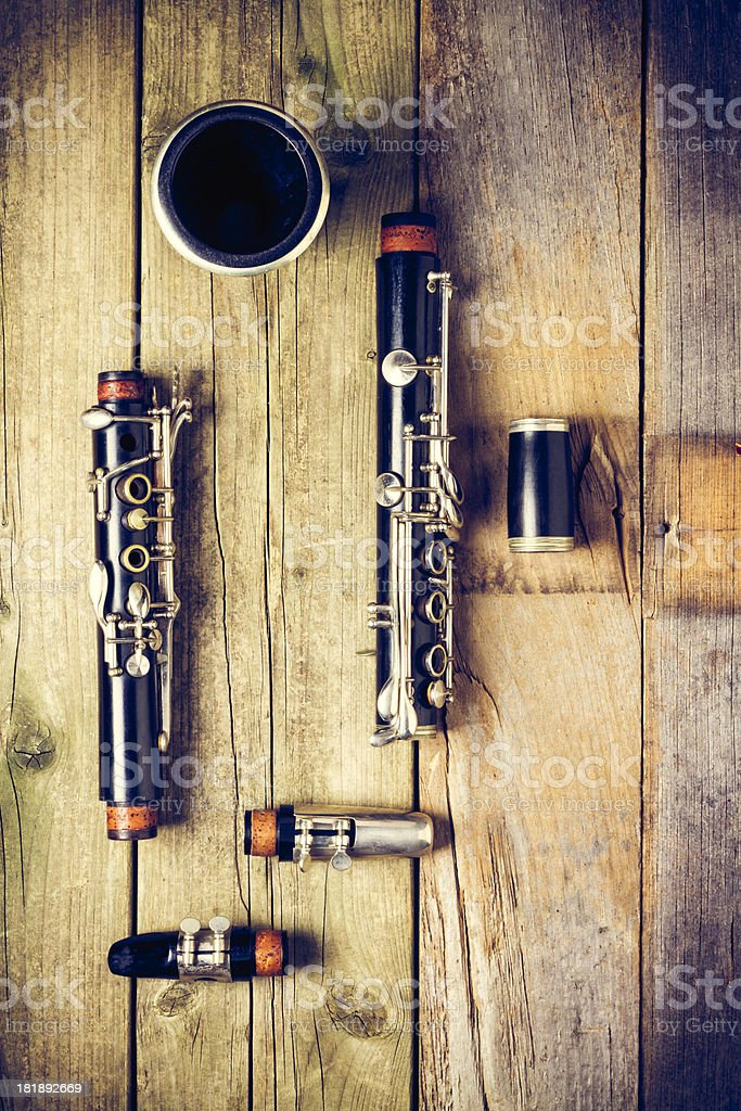 Old Clarinet Parts stock photo
