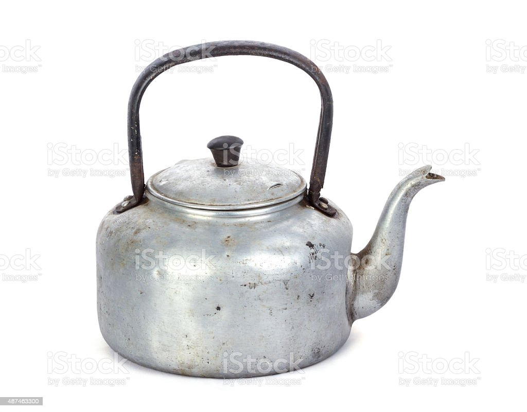old classic aluminum kettle on white background stock photo