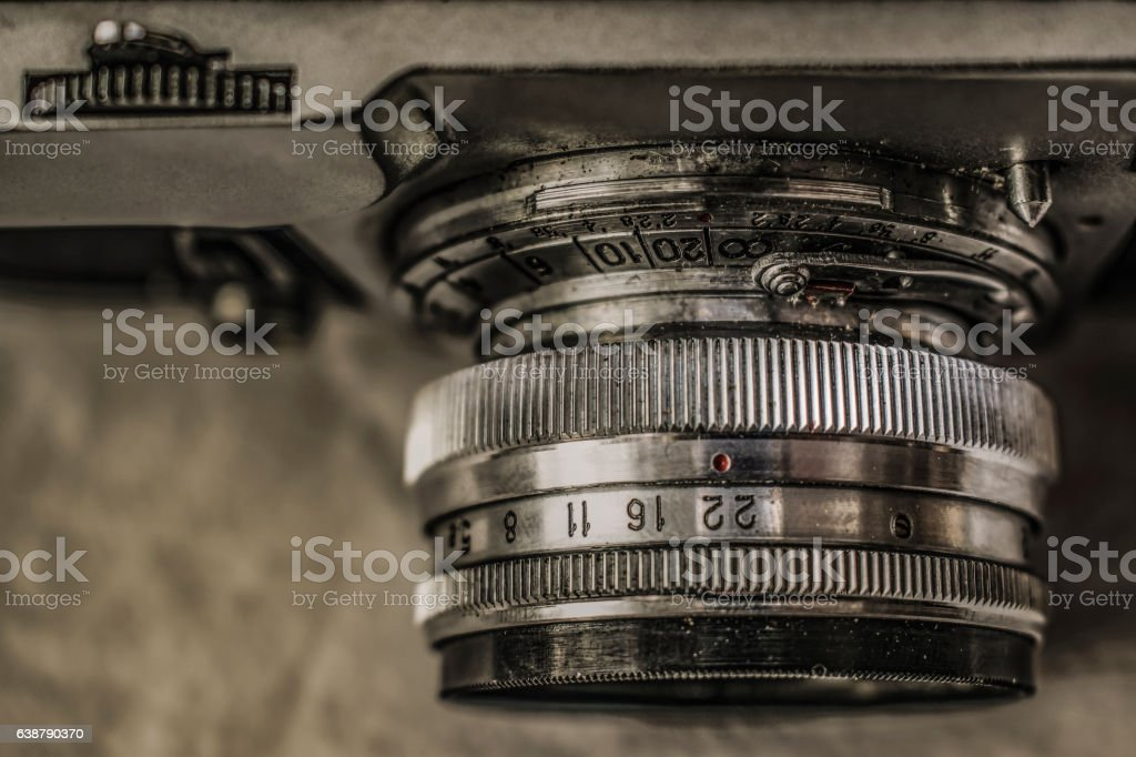 Old classic analog film cameras with manual controls stock photo