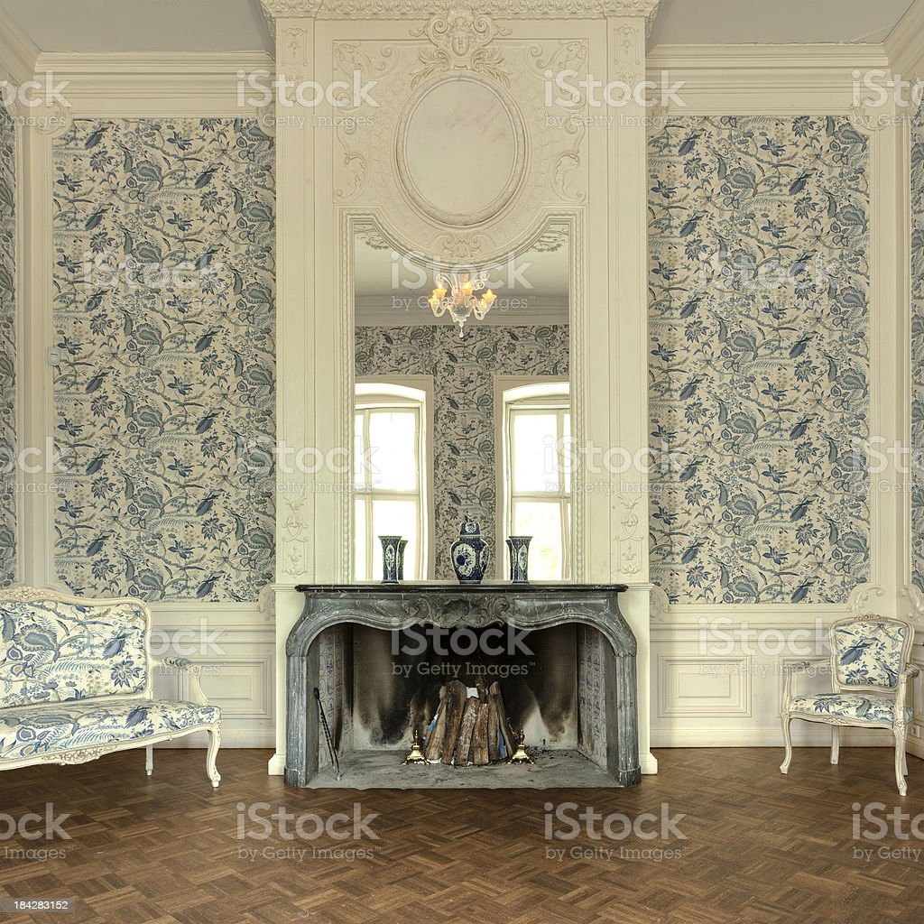 Old classic manor house with a fireplace stock photo