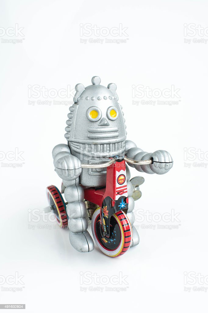 old classic robot toys, isolated on white. stock photo
