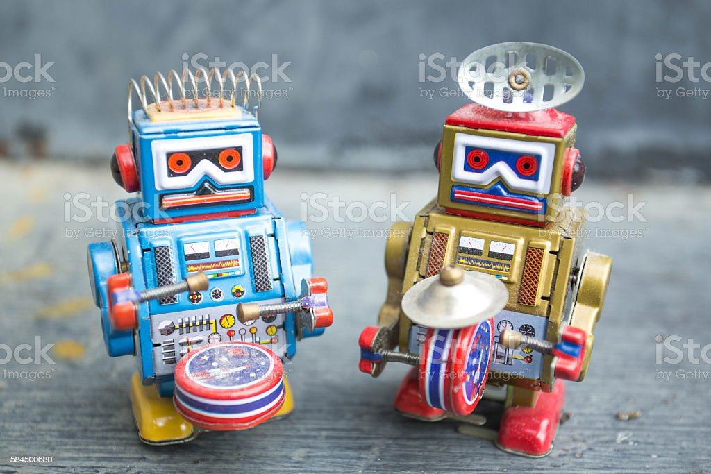 Old classic robot toys stock photo