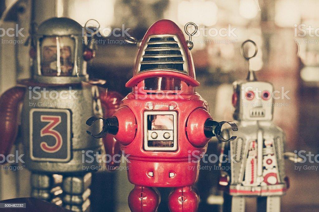 old classic tin robot toys stock photo