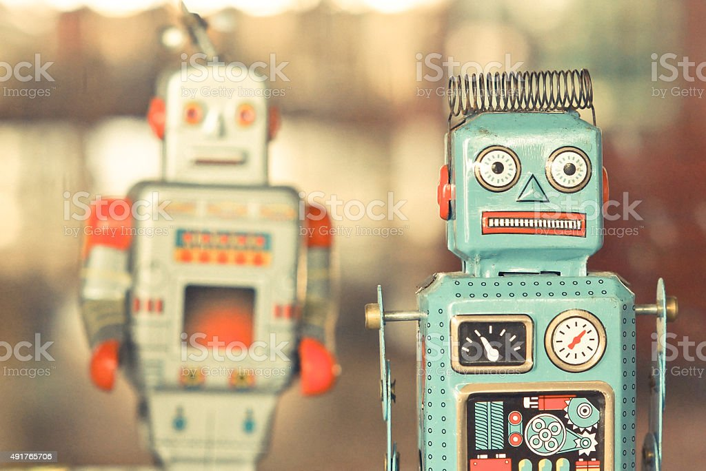 old classic tin toy robots stock photo
