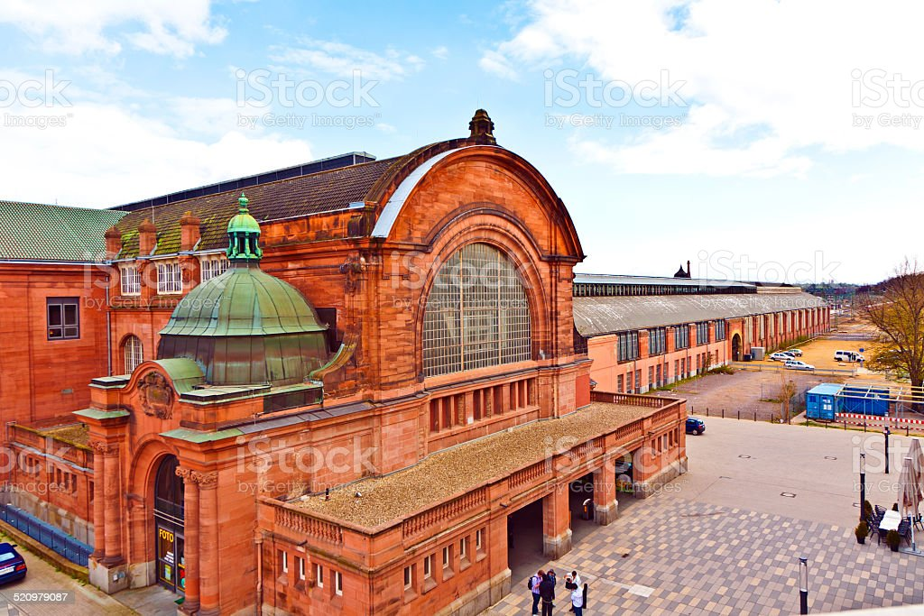 old classicistical train station in wiesbaden stock photo