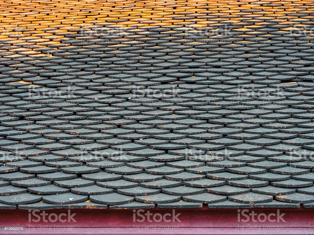 Old clay roof tiles stock photo