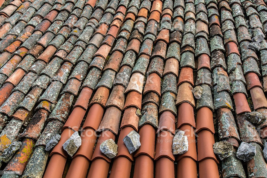 Old clay tiles stock photo