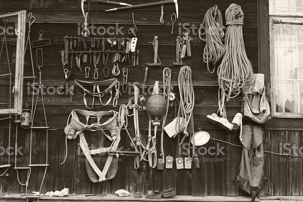 Old climbing gear stock photo