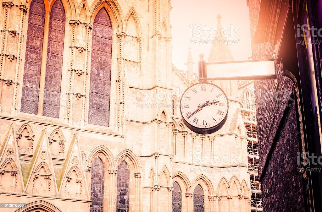 Old clock in city of York Minster Yorkshire, UK stock photo