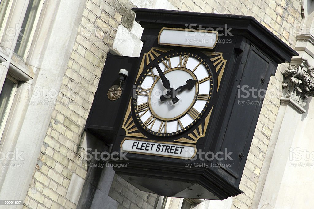 Old clock in Fleet Street stock photo