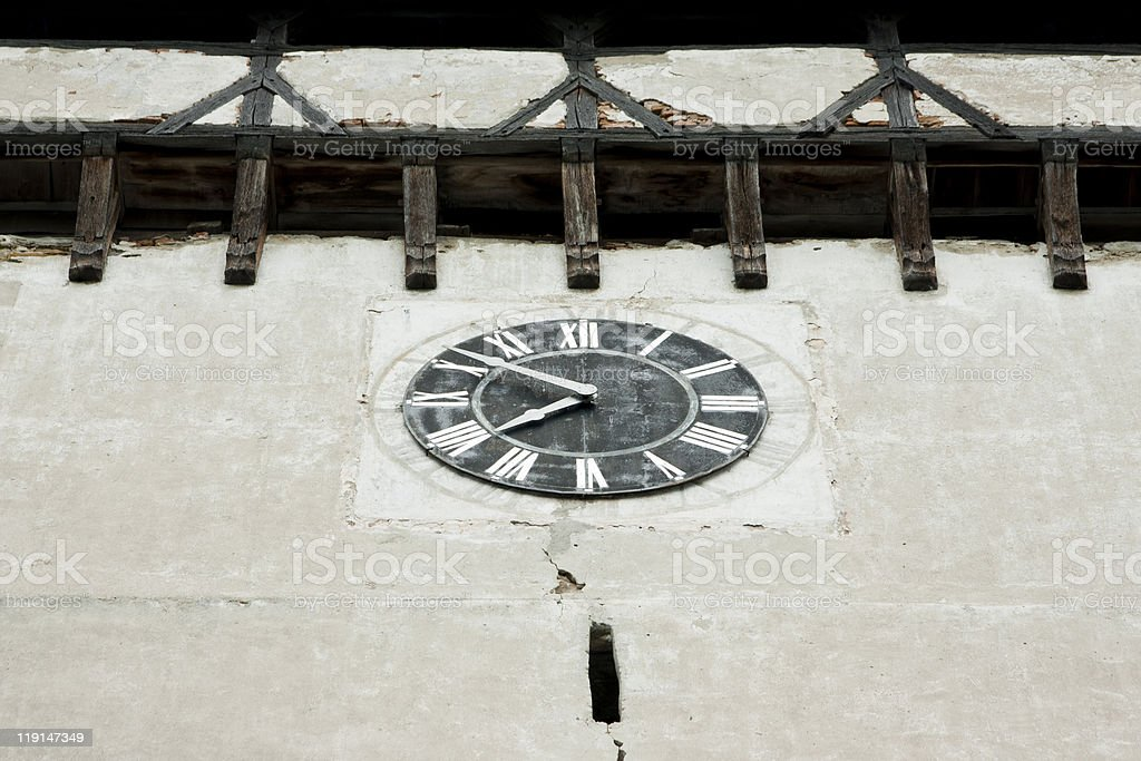 Old Clock in Medieval Tower stock photo