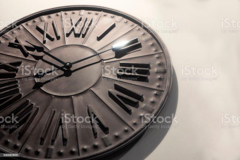 Old clock isolated on white background stock photo