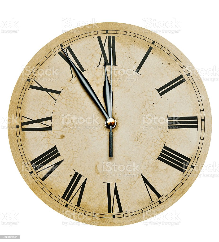 Old Clock Isolated on white . old vintage clock face stock photo
