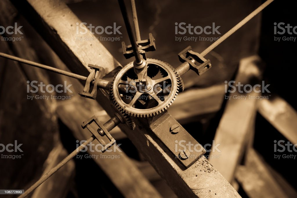 Old clock main gears royalty-free stock photo
