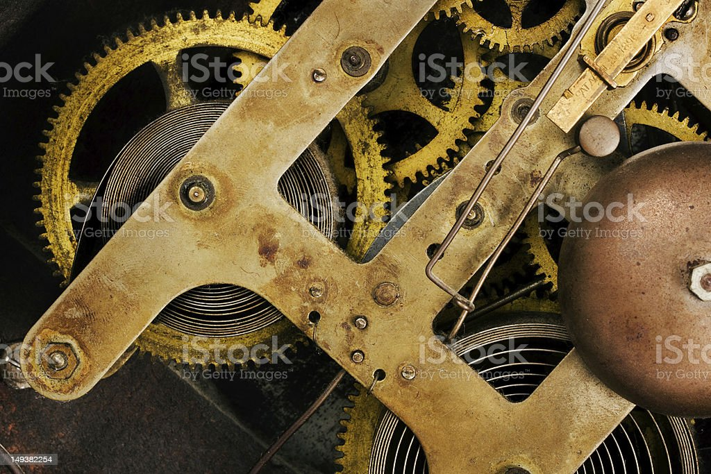 Old clock mechanism close up royalty-free stock photo