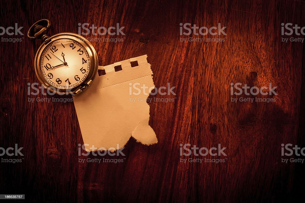 Old clock note stock photo