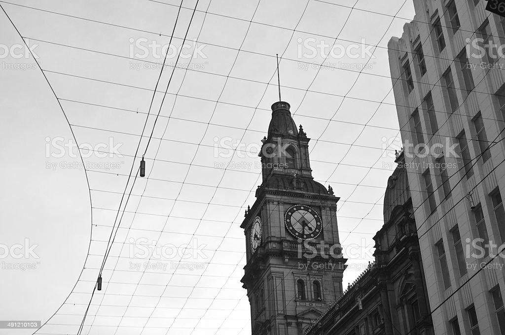 Old clock tower European style stock photo