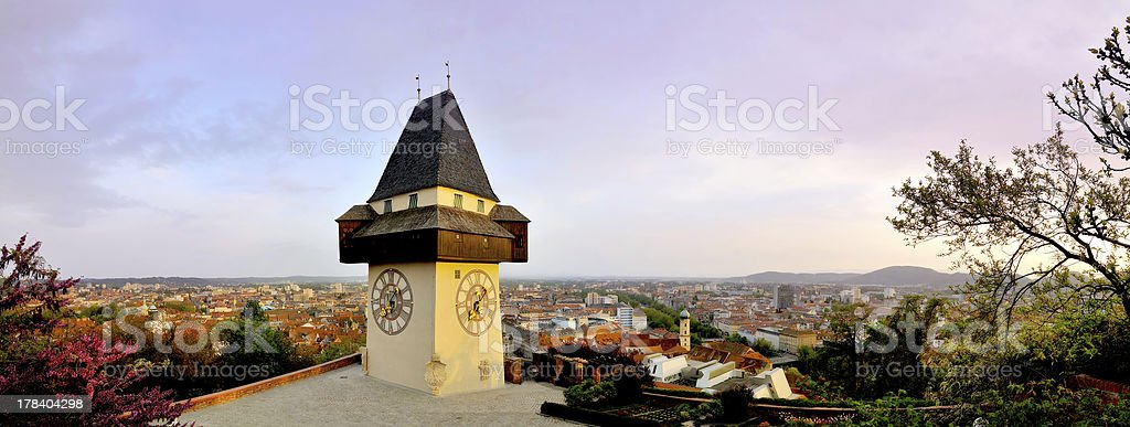 Old clock tower in Graz, 180 degrees panorama stock photo