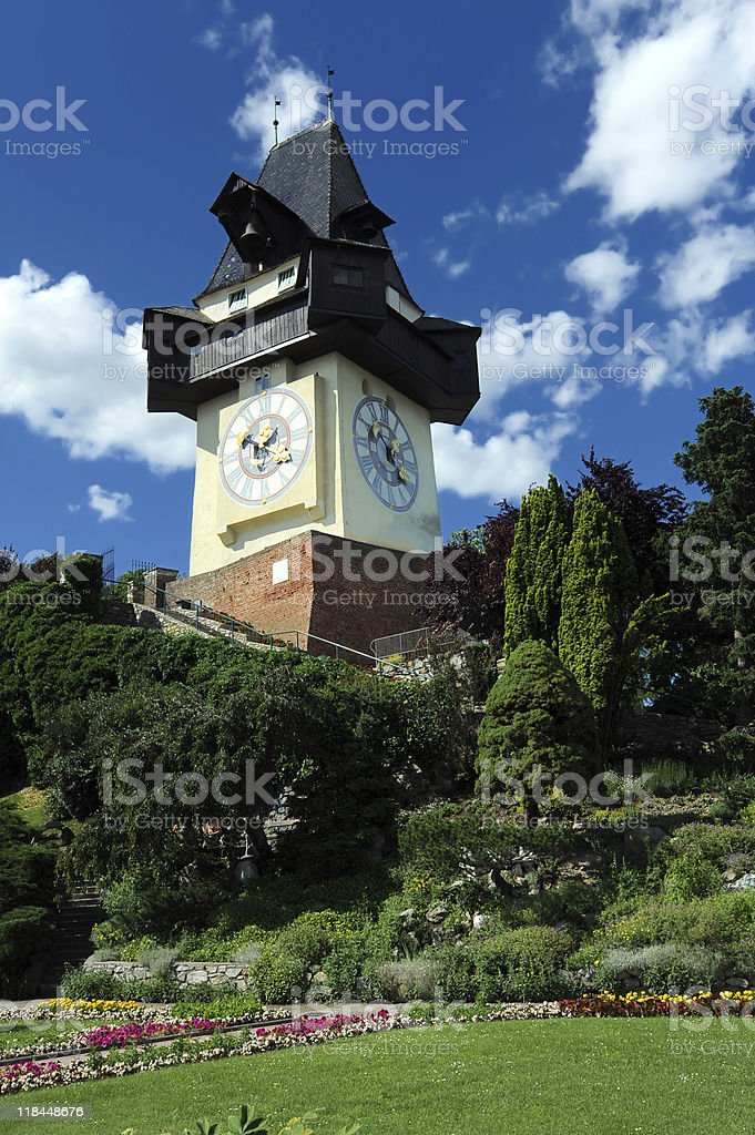 Old clock tower in Graz royalty-free stock photo
